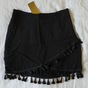 H&M gold label black skirt with tassels, size 10